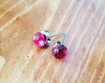 Pink Quartz Stud Earrings
