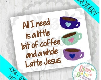 Coffee And Jesus Embroidery File Faith Embroidery Design Coffee Embroidery  Design Tea Towel Embroidery Coffee Applique Part 80