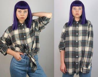 HANBURY Vintage 90's Unisex Plaid Over-sized Boyfriend Shirt   Men's Size L-XL
