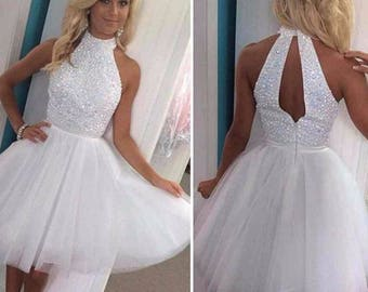 White Beaded  High Neck Off Shoulder A-line Dress /  Knee Length /  Custom Made