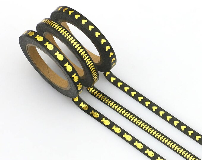 Skinny Washi Tape - Gold Foil Skinny Washi Tape - Paper Tape - Planner Washi Tape - Black Washi - Decorative Tape - Deco - Multi Roll Pack
