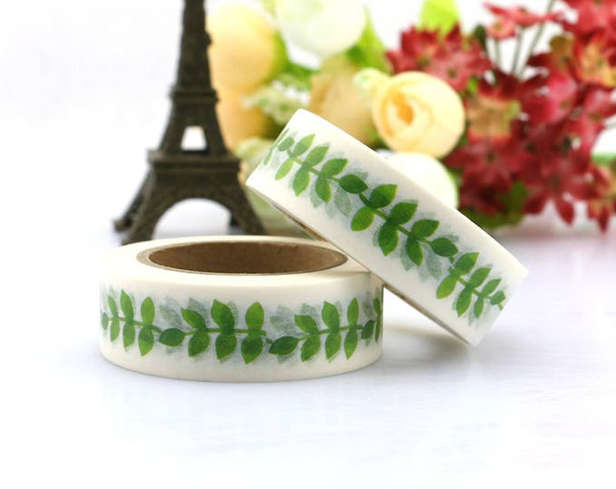 Leaf washi tape - Washi Tape - Green Leaf Washi Tape - Paper Tape - Planner Washi Tape - Washi - Decorative Tape - Deco Tape - Vine Washi