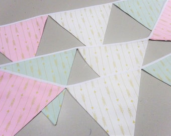 Pink, green, white,  gold metallic bunting. Nursery bunting, Baby Shower, Baby Gift, first birthday, party, engagement decoration, girl room