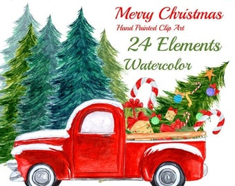 "SALE30% Watercolor Christmas Clipart: ""CHRISTMAS TRUCK"" Christmas Tree Kids Clipart Christmas Car Vintage Christmas Christmas Card Christmas"