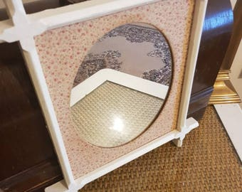 Shabby chic upcycled vintage inspired mirror