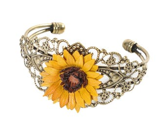 Bracelet filigree flower sunflower leather full grain cowhide