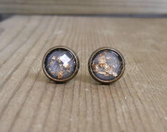 Gray with Gold Flecks Stud Earrings.