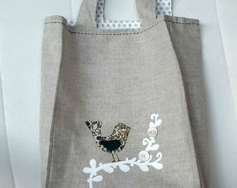 Small linen lined with green bird tote bag