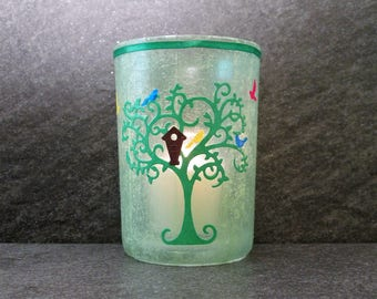 Green Tree with Birds Large Votive Candle Holder with Candle