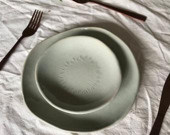 Handmade Stoneware Plate Set - Light Blue Celadon
