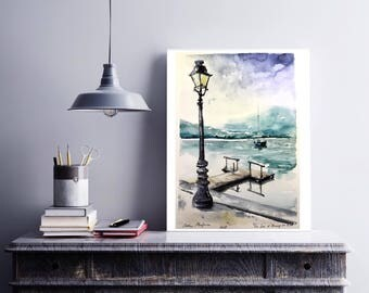 "Original watercolor painting-free shipping ""winter on the edge of Lake Annecy""(watercolor snow nature lake paysage landscape winter montagne)"