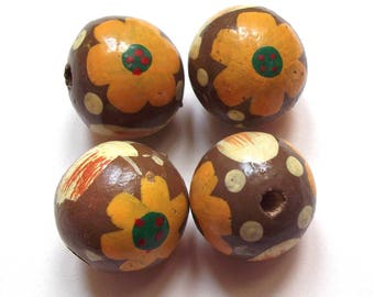 4 large vintage wooden beads handpainted 22 mm