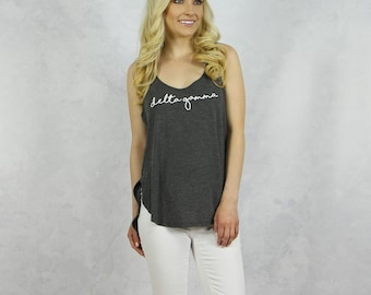 Delta Gamma Gray Tank With Curved Hem