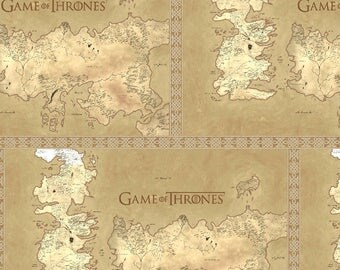 "Game of Thrones map of westros fabric for Springs Creative, 43"" wide, 100% cotton, by the half yard"