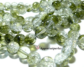 Special offer: 1 thread environ85 bicolor green and white Crackle glass beads 10mm 2O5212