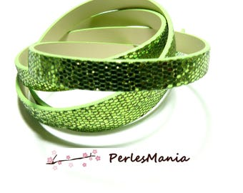 90cm cord flat leather Paillette sequins green clear 10mm ref24