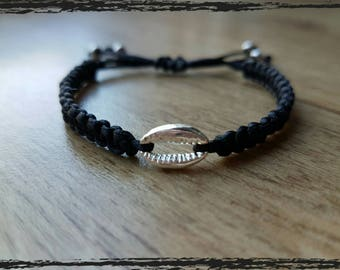 macrame bracelet with silver metal charm