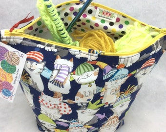 Knitting  Project Bag, Pull Yarn Through Center, Cat Print Project Bag, Crochet Project Bag, Knitting Tote