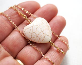 Boho Jewelry Heart Necklace Gold Chain White Turquoise Heart Champagne Crystal Howlite Necklace Cream White Bridesmaid Gift Natural Stone
