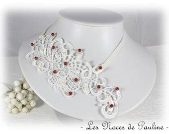 Necklace Burgundy ivory wedding lace Lucille Textiles