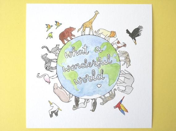 What a Wonderful World Giclee Watercolour Art Print, Nursery Art, Nursery Decor, Baby's room.