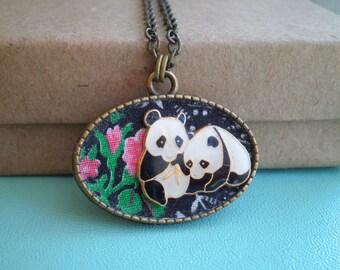 Vintage Panda Necklace - Enamel Panda Bears & Pink Roses Pendant - Retro Flower Fabric Art Miniature Animal Giant Panda Lovers Jewelry Gift