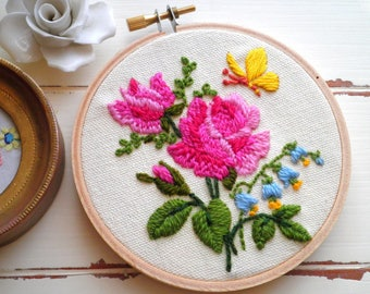 Embroidered Rose Floral Hoop Art / Wall Art, Vintage Crewel Hand Stitched Pink Roses & Yellow Butterfly Embroidery Textile / Fiber Arts Gift