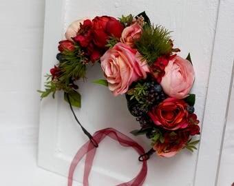 Orange pink greenery flower crown Fall wedding Bridal floral headpiece Hair flower wreath Floral headpiece Outdoor Maternity photo props
