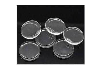 Set of 10 14 mm transparent glass cabochons