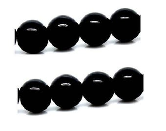set of 20 beautiful black glass beads shiny 8 mm