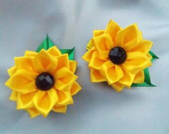 Sunflower hair clip kanzashi flower hair bow tsumami kanzashi bows for girls japanese hair accessories alligator hair clip flowers barretts