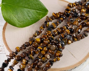 "32"" TIGERS EYE Chip Necklace - Tigers Eye Bead Necklace, Tigers Eye Jewelry, Tigers Eye Stone, Tigers Eye Necklace, Healing Stone E0779"