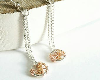 Chain drop earrings, dangle earrings, silver earrings, rose gold earrings, gold earrings, long earrings, elegant earrings, gifts for her