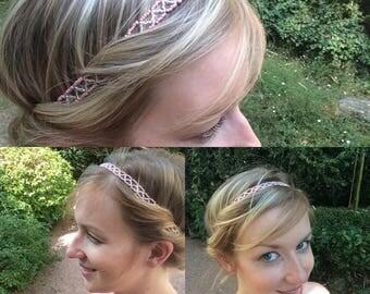 "Headband / headpiece / headband / headpiece / hair accessory / hair in pink and silver beads ""George fashion accessory"