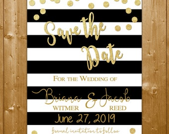 Black and Gold Save the Date Card, Striped Wedding Save the Date, Save the Date Printable Card, Black and Gold Save the Date Card