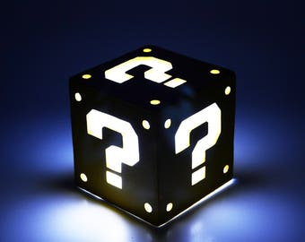 Light box of Question Block from Super Mario Bros. Decoration lamp, home decor, illumination, wood. Nintendo, game, geek. LED candle.