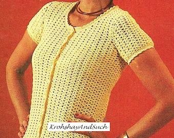 Ladies Cardigan, Short Sleeve, Crochet Pattern. PDF Instant Download.