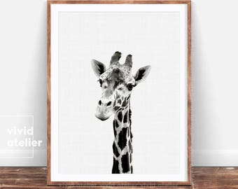Giraffe Print, Nursery Giraffe, Baby Animal Wall Art, Black and White Animal Print Decor, Printable Black and White Safari Nursery Art Print