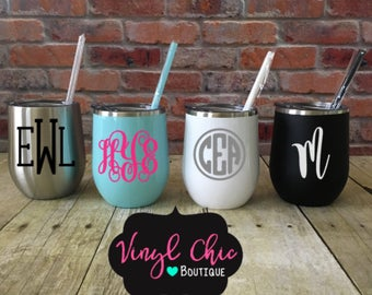 Stainless Steel Wine Tumblers, wine tumbler, wine glass, monogrammed wine tumbler, personalized wine glass, personalized wine tumbler