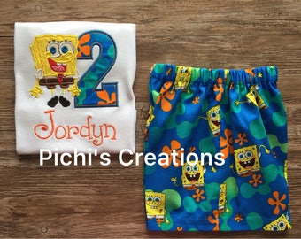 Spongebob Birthday Boy Outfit, Outfit for Spongebob Birthday Theme, Spongebob Birthday Outfit, Spongebob Birthday Shirt
