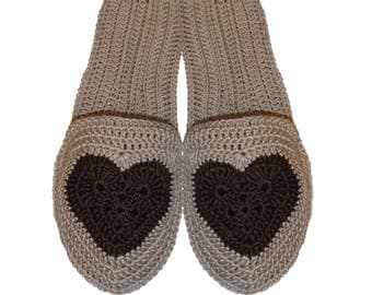 Slippers with heart, Flip flop slippers, slippers with sole
