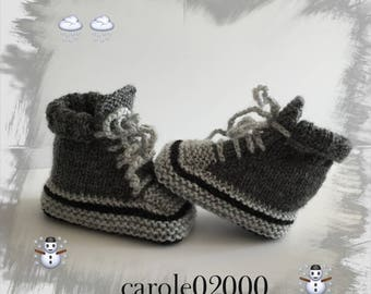 Baby booties (0/3 months) in specially designed for baby, black/grey color soft baby wool