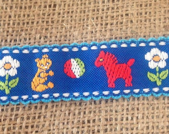 Vintage 1970's Sewing Notion--Chld-Themed Woven Trim/Braid/Ribbon/Embellishment--Azure Blue Decorated W/Red Horses/Teddy Bears & Beach Balls
