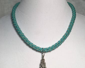 Turquoise hand beaded necklace
