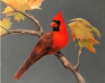 Cardinal Wall Art Original Oil Painting bird Wall Art wildlife Art  painting redbird Painting cardinal painting woodland painting small bird