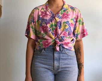 Vintage sz XL pink hawaiian button up