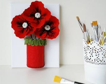 Embossed floral-3D painting painting poppies on canvas-modern paintings-felt flowers-flowers-wedding gift picture red-square