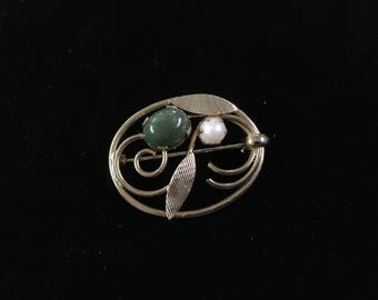 Vintage Sarah Coventry Brooch, Goldtone, Green and Pearl Like Stone!