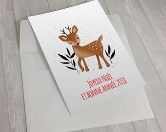 """Carte de souhaits de Noël et de nouvelle année  """"Petite biche"""""""