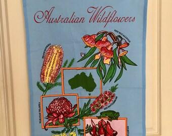 Australiana wildflowers retro kitsch tea towel